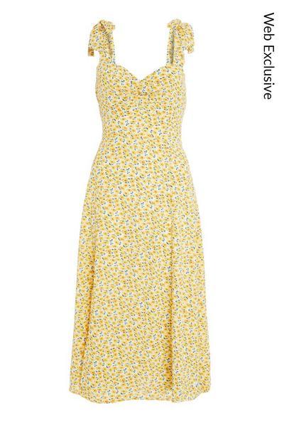 Yellow Floral Split Midi Dress